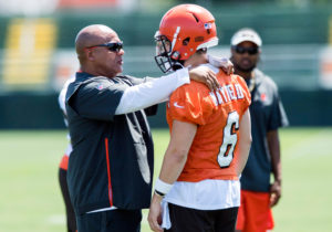 Hue Jackson and Baker Mayfield