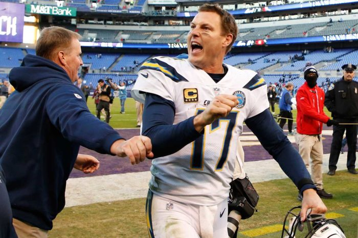 Chargers Win a Sloppy Contest and Advance to New England