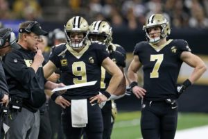 Sean Payton with Drew Brees and Taysom Hill